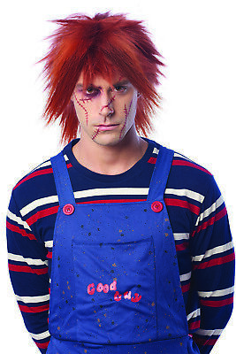 Red Chucky Wig (Evil Killer Doll Mens Adult Chucky Costume Red Messy)