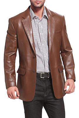 New Mens Genuine Lambskin Leather Blazer Coat Soft BUTTON Brown Jacket BL05 Button Lambskin Leather Blazer