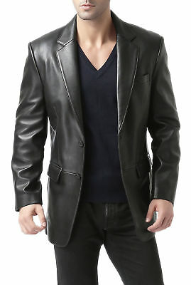 Classic Mens Genuine Lambskin Leather Blazer Soft TWO BUTTON Black Coat Jacket