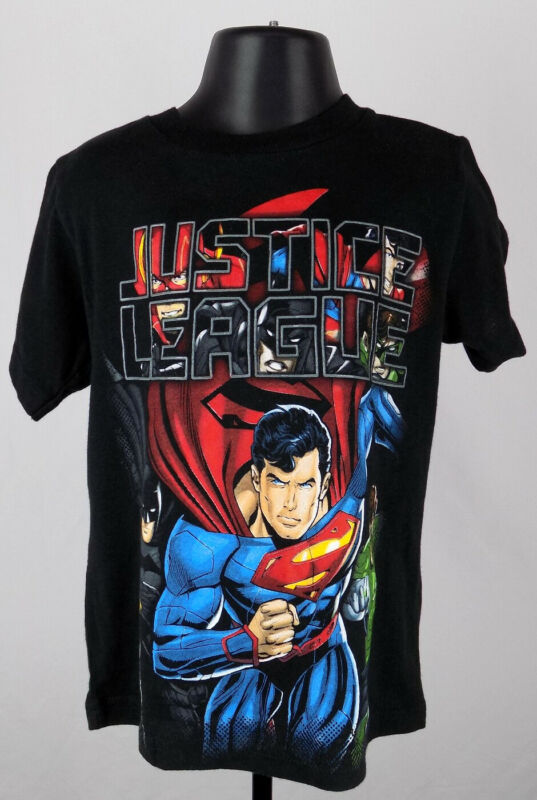 Justice League Shirt Boys 5T Black Graphic DC Comics Baby Toddler New ST149