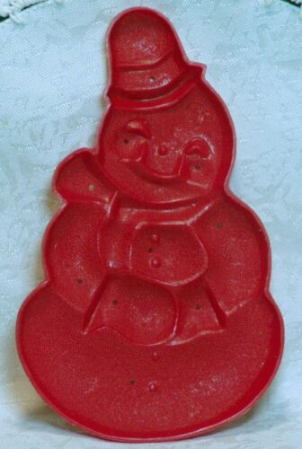 Aunt Chick Vintage Red Plastic Cookie Cutter Mold - Snowman Christmas Winter