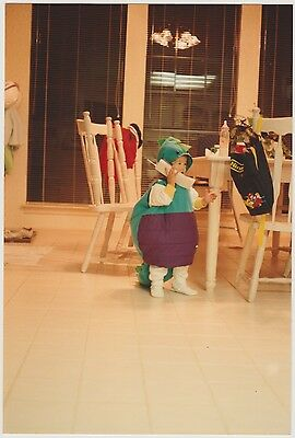 Vintage 80s PHOTO Toddler Boy In Dinosaur Costume Talking On Big Telephone Phone](Toddler 80s Costume)