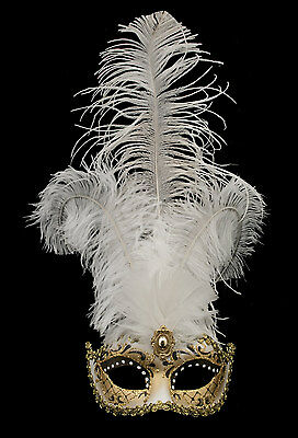 Mask from Venice Colombine in Feathers Ostrich Shayla Black and White 1451 VG10