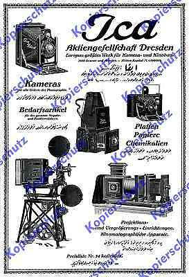 Reklame Ica-Werk Kamera Kinematograph Kino-Bau Stummfilm Fotografie Dresden 1916