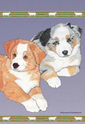 Pipsqueak House Flag - Australian Shepherd Pups 49859