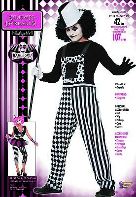 Clown Men's Adult Sinister Circus Halloween Costume Overalls - Halloween Costumes Overalls
