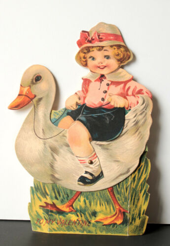 Large Vtg Valentine Card 1920s-1930s Little Boy Riding Duck Mechanical Stand-Up