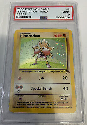 PSA 9 MINT HITMONCHAN HOLO Pokemon Base Set 2 8/130
