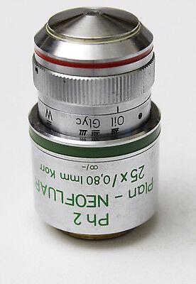 Zeiss Plan Neofluar 25x 0.80 Korr Ph2 Microscope Objective 440545 Phase Contrast
