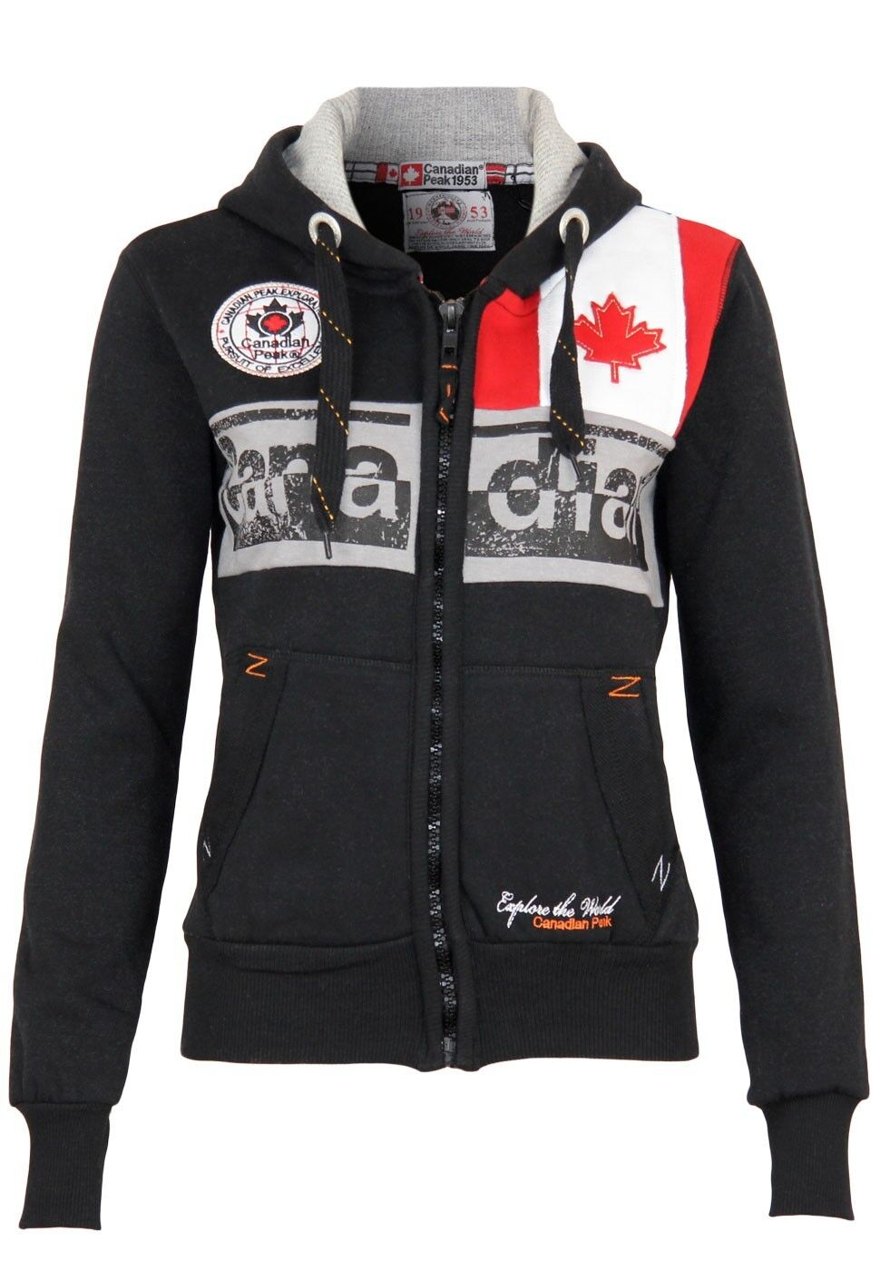 Canadian Peak Damen Sweatjacke Flashy Lady   Kapuze Langarm Design Logo Pulli
