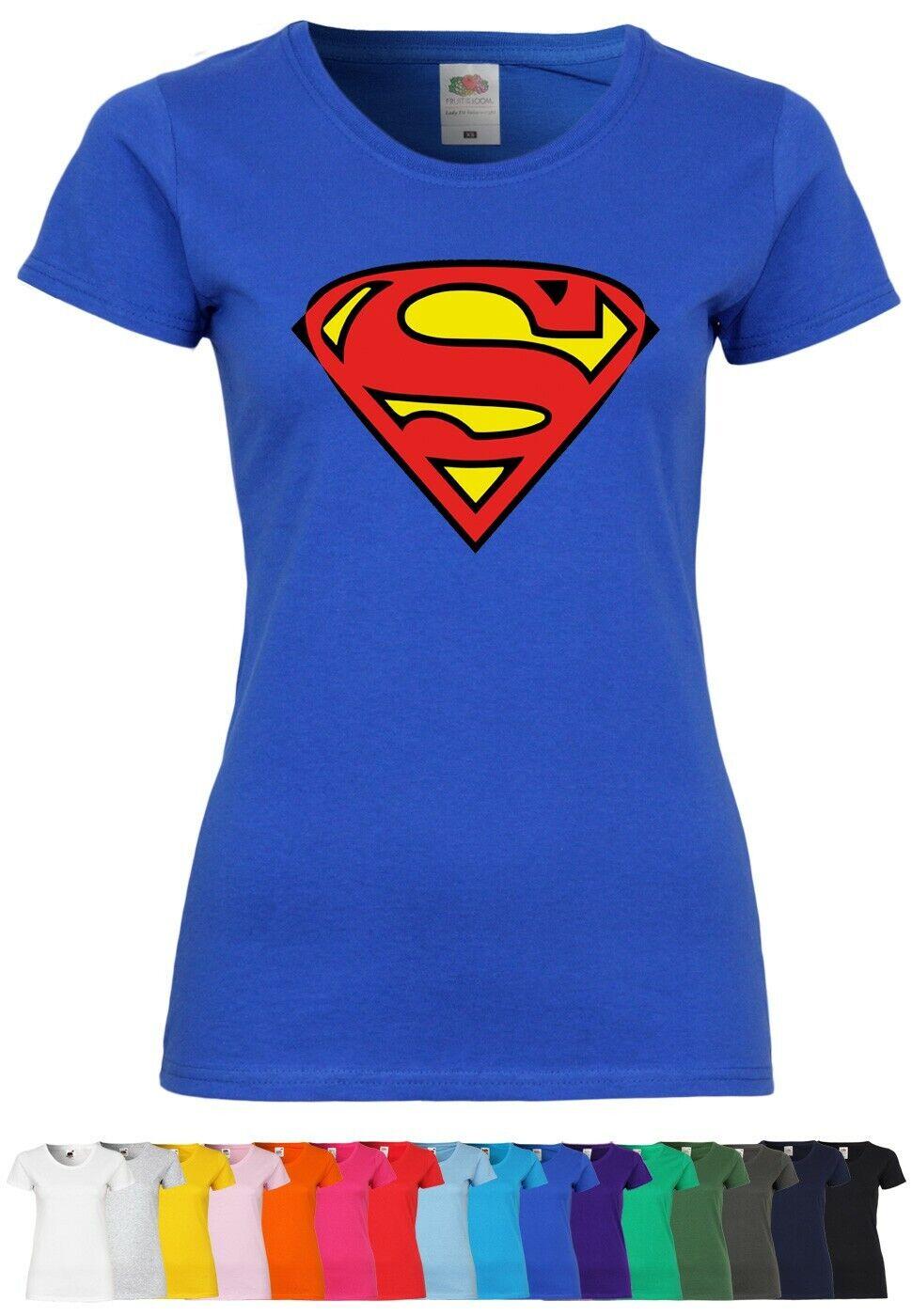 M91 F288N Damen T-Shirt mit Motiv Superman | Comic Superheld Fun Design Party
