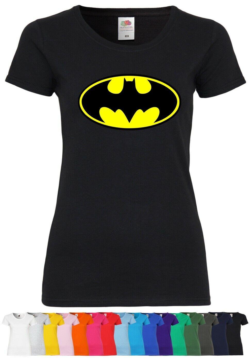 M120 F288N Damen T-Shirt mit Motiv Batman | Comic Superheld Print Freizeit Party