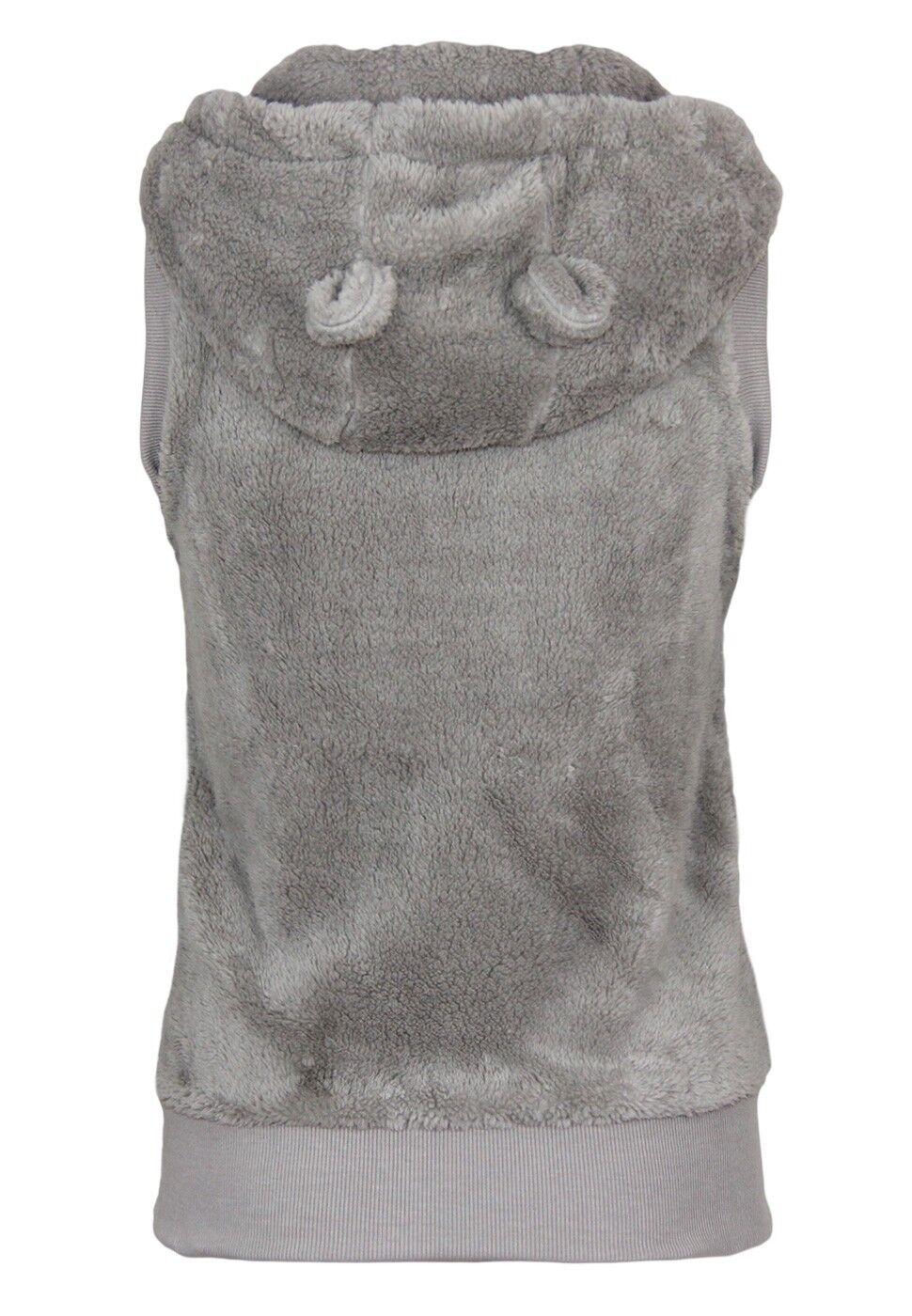 Fresh Made Damen Teddy Fleece Weste mit Öhrchen | Armlos Kapuze Reißverschluss