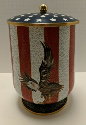 American Flag Eagle Cloisonne Cremation Urn Adult Sized For Ashes - $200.00