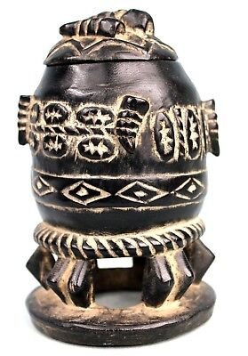 Art African Tribal - Pot or Box Ointments Gouro - Guro Container - 17 Cm