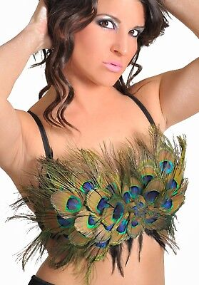 Burlesque Style Peacock Feather Convertible Showgirl Costume Bra Top A B C - Womens Peacock Costume