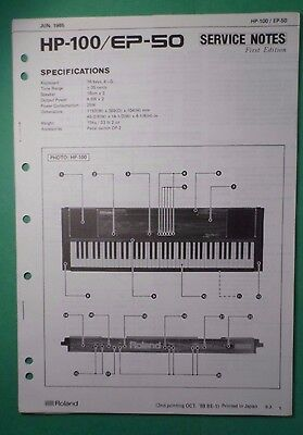 Original ROLAND Service Notes- HP-100/EP-50 Electronic Piano First Edition for sale  Shipping to India