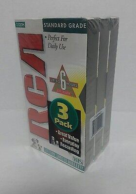 RCA VHS Tapes 3 Pack T-120H 6 Hour Standard Grade Blank Audio NOS Sealed Package Standard Grade Audio