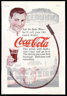 Lg Rare 1914 Vtg COCA-COLA COKE Ad Print Soda Fountain Man w/Flair Glass & Arrow