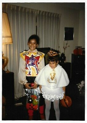 Vintage 80s PHOTO Pair Little Girls in Halloween - 80s Couple Halloween Costumes