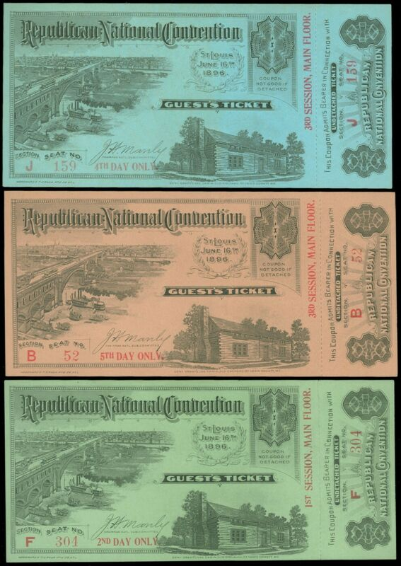 1896 ST. LOUIS, REPUBLICAN CONVENTION TICKETS, GROUP/3, UNDETACHED! garyposner