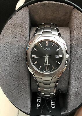 Citizen Eco-Drive Men's Titanium Black Dial Calendar 38mm Watch BM6560-54H