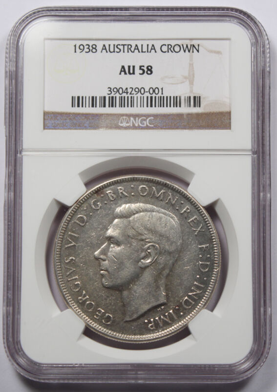 1938 Australia George VI Silver CROWN Coin NGC AU58 About Uncirculated KEY DATE