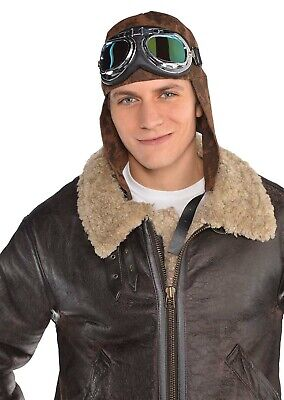 Aviator Goggles Hat Mens Adult Pilot Costume Accessory