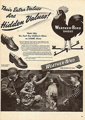1944 WW2 era AD WEATHER BIRD Children's Shoes English Cocker Buy War Bond 010315