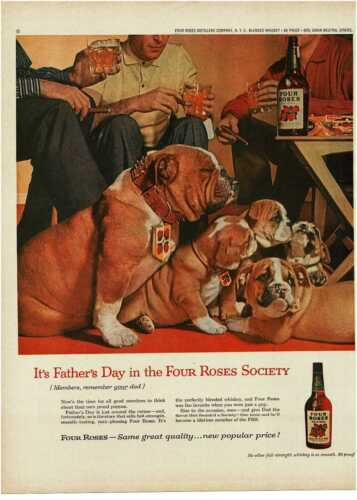 1959 FOUR ROSES Whiskey Bulldog sire with pups puppies art Vintage Print Ad