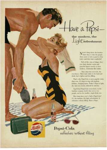 1954 PEPSI COLA Soda Pretty Woman Swimsuit retro radio art Vintage Print Ad
