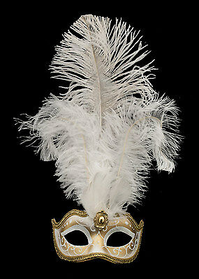 Mask from Venice Colombine IN Feathers Ostrich Lina White 1449 VG10