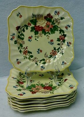 ROYAL DOULTON china WILDFLOWER D5273 Set of Eight (8) Square Salad Plates 7-7/8""