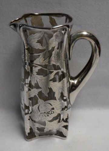 """STERLING SILVER OVERLAY 48-oz Oak Leaf Theme Water Pitcher - 10"""""""