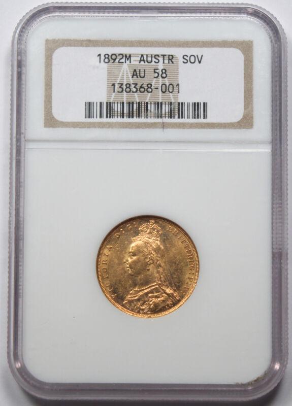 Australia 1892 M 1 Sovereign Sov Gold Coin NGC AU58 Melbourne Victoria Jubilee