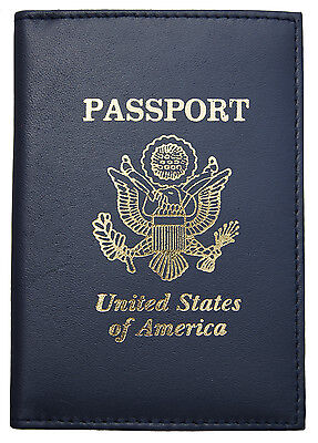 New Navy Blue Leather US Passport Cover ID Holder Wallet Travel Case Handmade