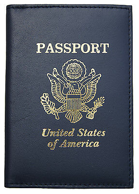 New Navy Blue Leather US Passport Cover ID Holder Wallet