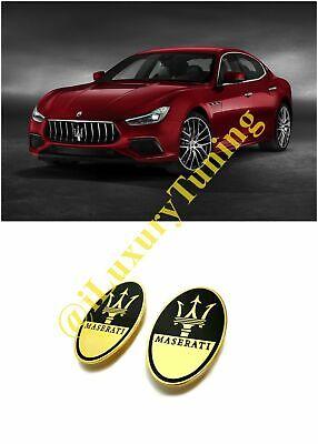 Maserati Style Exclusive Gold 24 Carat Floor Mat Badges Logo Emblems Set 2 pcs.