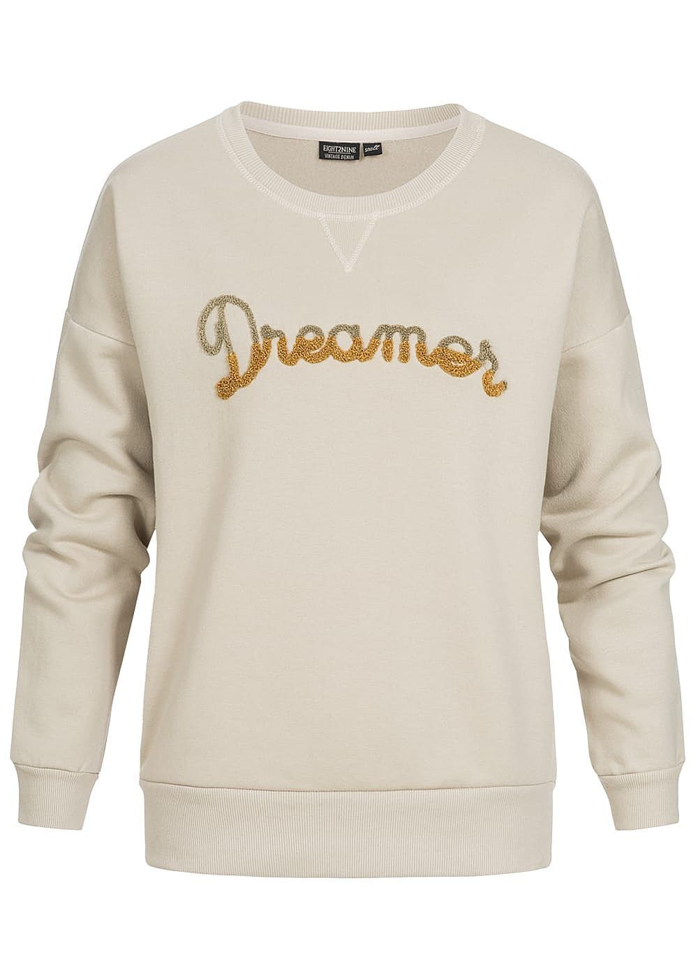 50% OFF B18010130 Damen Eight2Nine Pullover Sweater Dreamer Patch beige gold