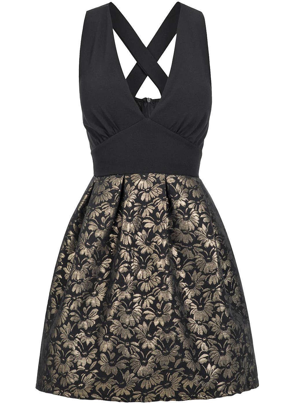 50% OFF B16086860 Damen Violet Kleid kurz ausgestellt tiefer Ausschnitt schwarz