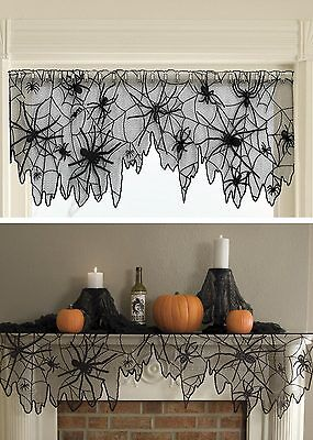 4 Way Mantle Scarf Valance Lamp - Creepy Crawly Spiders HERITAGE LACE - Heritage Lace Halloween