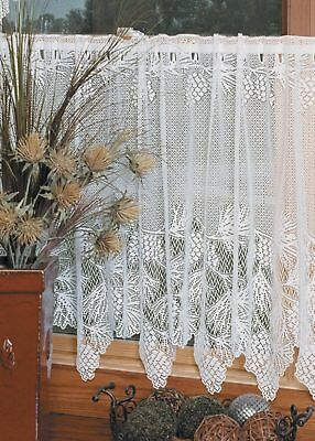 Lace Window Curtains (Woodland Ecru/Cream Country Lace Pinecone Scalloped Window Cafe Tier 60