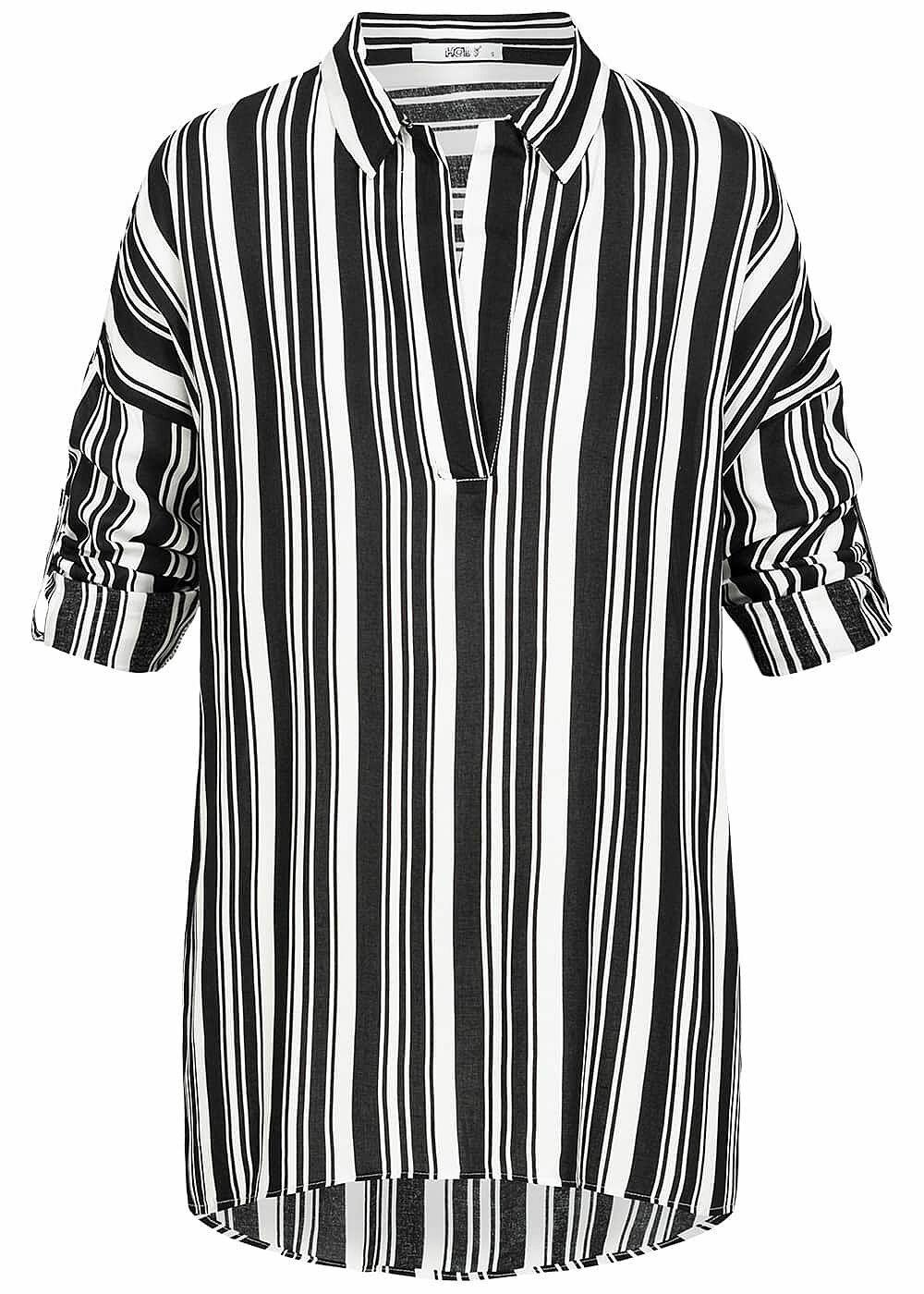28% OFF B19010170 Damen Hailys Bluse Longform Shirt Turn-Up mit Streifen schwarz