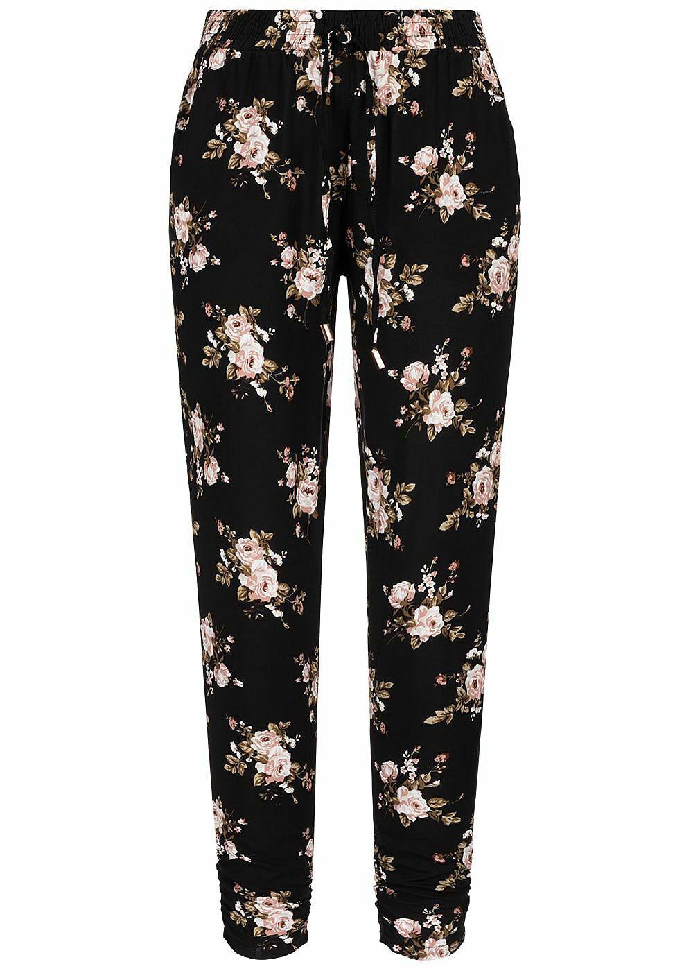 24% OFF B19049038 Damen 77 Lifestyle Hose Floraler Print 2 Taschen schwarz rosa