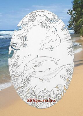 DOLPHINS Etched Window Decal 15x23 Oval STATIC CLING Glass Door Tropical Decor