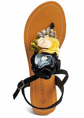 27% OFF B19062353 Damen 77 Lifestyle Sandalette Velour Toe Post Flower schwarz Damen Post