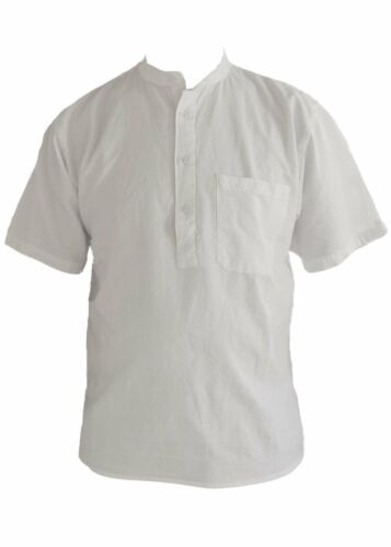 White short sleeved grandad shirt collarless shirts small for Short sleeve grandad shirt