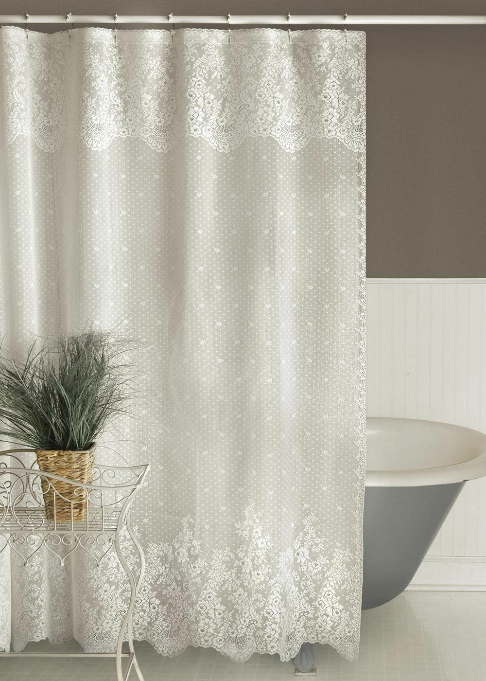 Heritage Lace Floret 72-Inch by 72-Inch Shower Curtain,