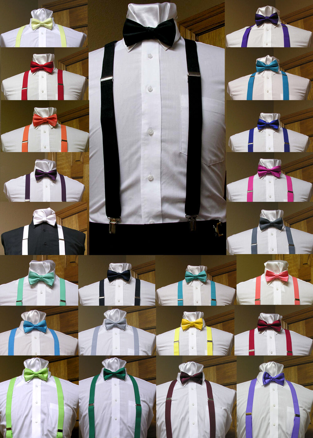Men's clip-on suspenders x back and Bow Tie Retro Steampunk