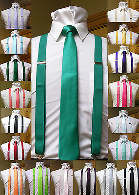 Ties And Suspenders (Matching skinny tie and suspenders set men's clip-on x back longer necktie)